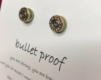 Bullet Earrings for Best Friend Jewelry Gift Birthday Gift for Her Necklace Gun Jewelry Ammo Jewelry Bullet Stud Earrings Gift for Gun Lover