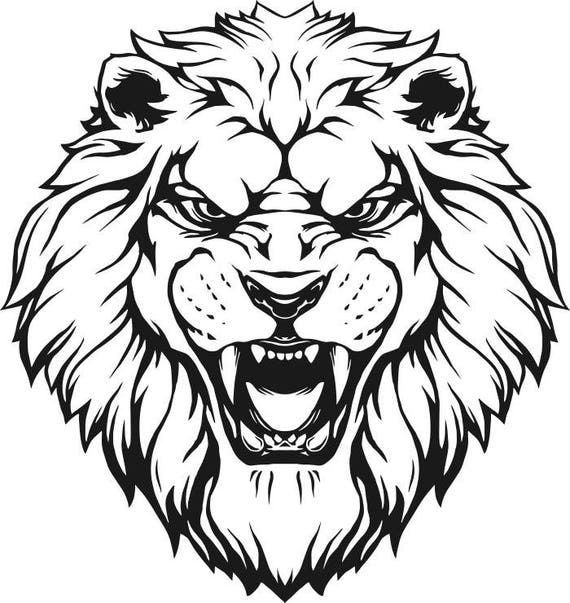 lion 7 head wild cat school mascot company logo svg eps rh etsy com Lion Mascot Logo Lion Head Mascot