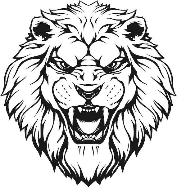 lion 7 head wild cat school mascot company logo svg eps