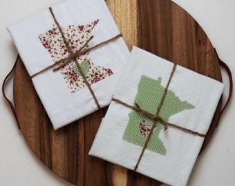 Set of 2 Minnesota Flour Sack Towels - Mint Green/Floral