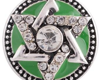 1 PC - 18MM Green Star Enamel Rhinestones Silver Charm for Snap Jewelry KC8754 CC3746