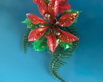 1950's Vintage Christmas Brooch, Old Hollywood Glam