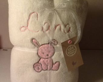 fleece blanket baby embroidered name and very soft rabbit