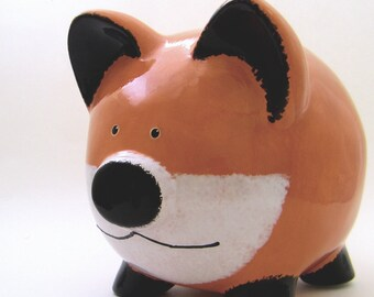 Red Fox Piggy Bank - Personalized Piggy Bank - Woodland Bank - Animal Piggy Bank -  Forest Theme Bank - Baby Gift - with hole or NO hole