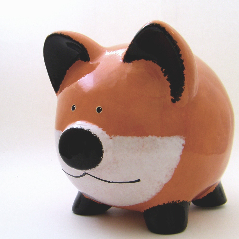 Red Fox Piggy Bank Personalized Piggy Bank Woodland Bank