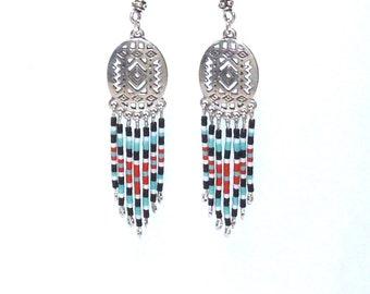Handmade Dangle Chandelier Beaded Earrings in Southwestern Style, Dangle Earrings, Southwestern Earrings, Chandelier Earrings