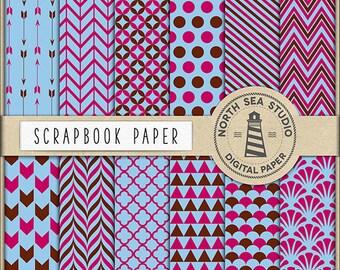 BUY5FOR8, Digital Scrapbook Papers, Soft Blue, Magenta, Brown Patterns, Scrapbooking Paper Pack