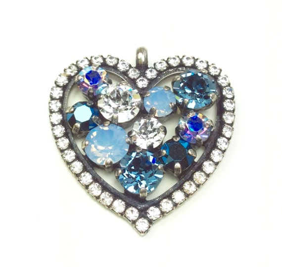 Swarovski Crystal - Heart Shaped - Add-On Charm - in Denim Blue, Lt.SapphireAB, Crystal & Met. Blue - FREE SHIPPING - SALE - 35.