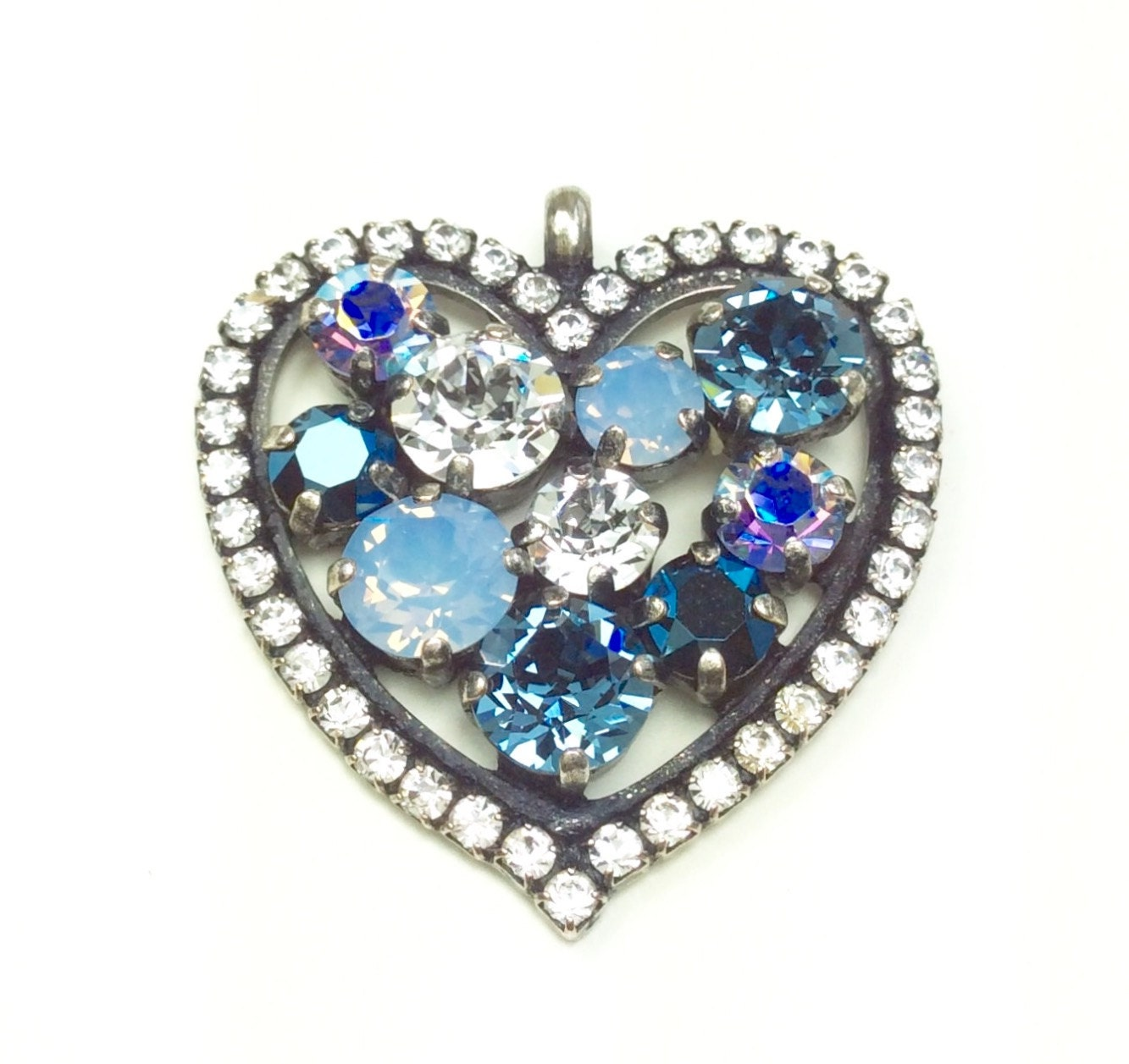 Swarovski Crystal - Heart Shaped - Add-On Charm - in Denim Blue a2b6e6b4e89a
