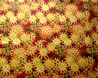 Patchwork Sunflowers Cotton Fabric Clothworks Yellow Red Floral Flowers Fat Quarter/Metre FREE UK POSTAGE