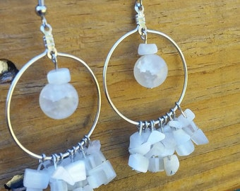 White and silver Cluster Dangle Earrings