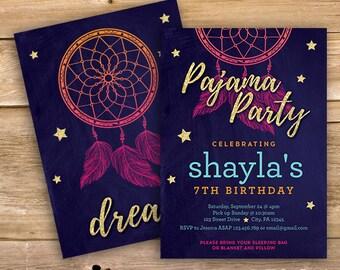 Slumber party Invite, pajama party invitation, sleepover, dreamcatcher, pjs, stars, any age, printable, instant download