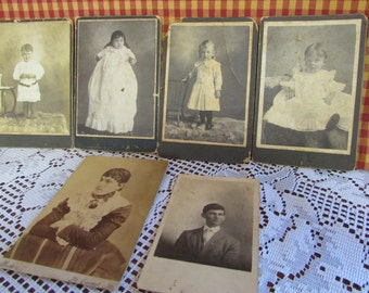 Hardback Antique photograph VINTAGE Photo woman man child baby, VTG Photo black and white Antique