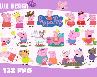 132 PEPPA PIG ClipArt- PNG Images 300dpi Digital, Clip Art, Instant Download, Graphics transparent background Scrapbook