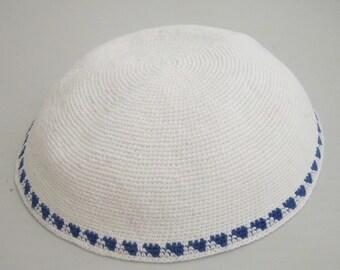 Kippah 19cm Jewish Head covering from Jerusalem yamaka Amazing yarmulke handmade Knitted Jewish Blue and White Kippah Kipah Yamaka