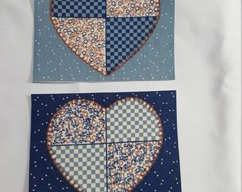 Fabric Appliques - Hearts - set of 4