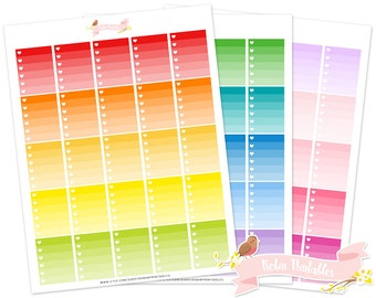 Heart Ombre Checklist Printable Planner Stickers for Erin Condren Life Planner. Personal Use Functional Full Box Sticker Kit PDF Download