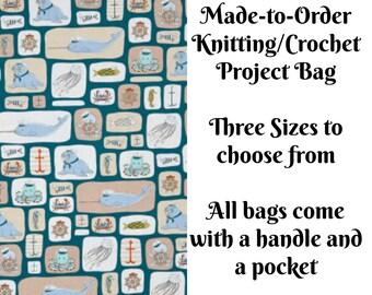 Sea Life Sailors, Knitting Project Bag, Crochet Bag, Cross Stitch, Zippered Bag, Knitting Organizer, Octopus, Jellyfish