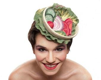 MADE TO ORDER Salad Food Hat, Wool Food Fascinator