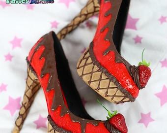 jelly chocolate icecream cake shoes custom made heels shoes one of the kind, party kei, Kawaii,cute,harajuku,alternative,pinup
