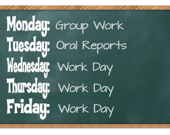 Days of the Week Classroom Decals Set, Whiteboard Decal, Classroom Decor, Classroom Wall Decal, Classroom Sign, Chalkboard Decal