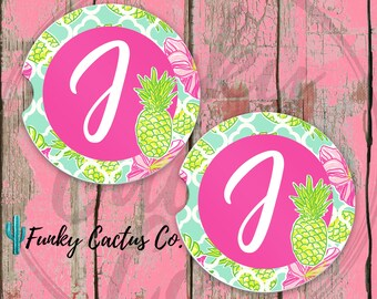Palm Beach Pineapple Car Coasters