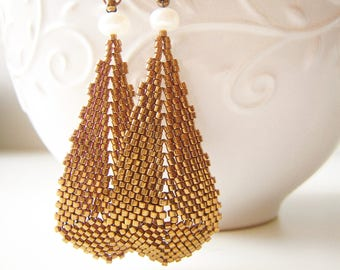 Large Metallic Bronze Teardrop Earrings with Pearls, Stitched by hand, Sterling Silver Hooks