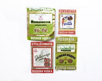 Four Russian Vodka Labels, Authentic