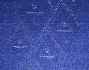 "7 Piece Set Quilting Diamond Template- 1/8""  Clear Acrylic  2"", 3""  4"", 5"", 6"", 7"", 8"""