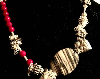 Silver-plated Chain and Findings Druzi and Coral Beads Necklace