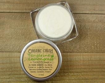 Tangerine + Lemongrass mini HAND CREAM | Organic Hand Lotion | Gifts Under 5 | Gift for Teacher | Organic Body Butter | Travel Size Lotion
