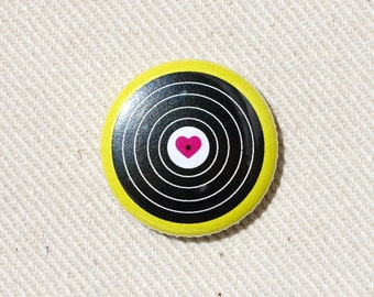 I Love Vinyl Pinback Button - Record One Inch Badge by Oh Geez Design