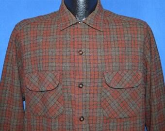 60s Pendleton Brown Wool Button Down shirt Medium