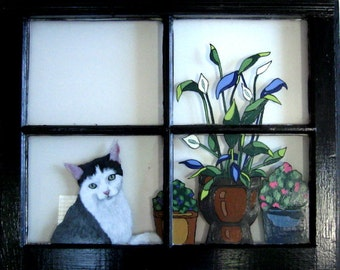 Cat Portrait, Recycled Art, Pet Window, Cat Art, Wall Hanging, Custom Painted Pet, Potted Plants, Pet Loss Memorial, Acrylic Painting