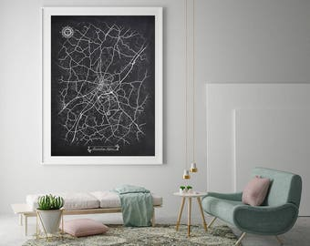 Chalkboard map etsy harrisonburg virginia chalkboard map art black and white harrisonburg va vintage city map graphic detailed scheme street map wall art decor gumiabroncs Image collections