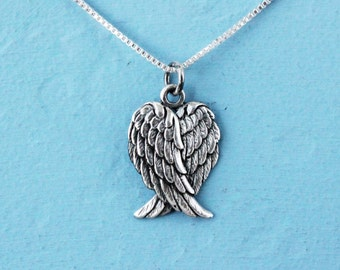 Guardian angel necklace, sterling silver angel wing charm on a chain, silver necklace, gift for her