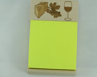 Wood Sticky Note Pad Holder Engraved with Wine Glass, Cheese, and Grapes