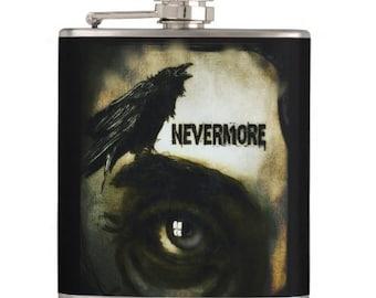 Nevermore Raven Edgar Allen Poe hip flask