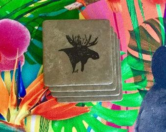 Natural Stone Coasters - Moose Head   Set of 4