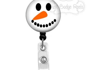 Badge Reel - Snowman Badge Reel - Christmas Badge Holder - Retractable Badge Reel - Holiday Badge Reel - 1005
