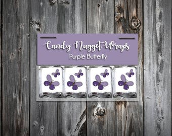 60 Purple Butterfly Shower Candy Wraps Favors. Includes printing.
