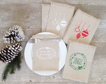 Christmas Napkins Mix and Match Cloth Christmas Napkins Linen Napkins Dining Serving Decor Tabletop Christmas Tablescape Christmas Dinner