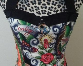 Mexican/ Aztec / Flowers/ Skulls  Halter Top Sz. S, M, L, XL