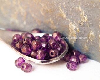 PREMIUM 50 Transparent Amethyst Gold Matte Finish 3mm Firepolish Czech Glass Beads (N111)