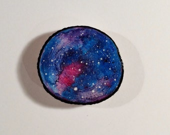 Galaxy 004 - Watercolour Painting on a Woodslice