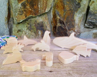 Wooden toys - Wooden sea creatures - Wooden marine animal toys
