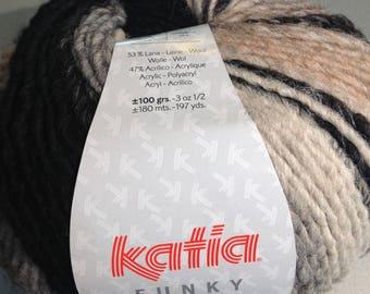 Wool Katia FUNKY collar 50 black, beige, Brown, gray