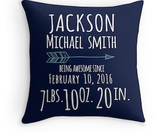 Birth Announcement Pillow - Personalized Baby Pillow - Baby Gift - Boy Nursery Decor - Navy Blue