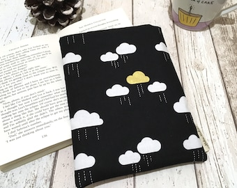 Metallic Cloud Book Buddy®, Small Medium Book Sleeve, Book Lover Gift, Rainy Day Book Pouch, Paperback Cover, Black Gold Bookworm Bag