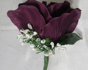 Eggplant Rose Corsage or Boutonniere